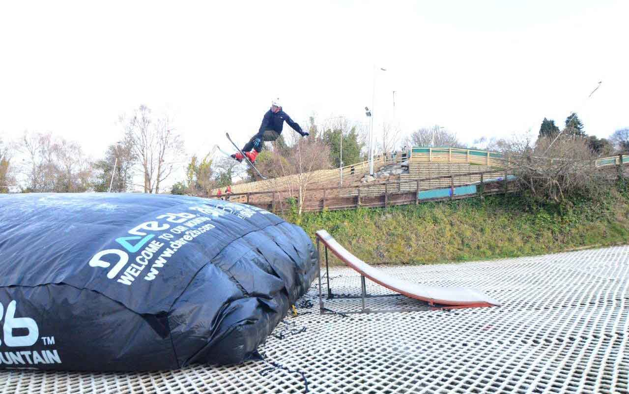 Ski jump into big bag on WSD at SCI