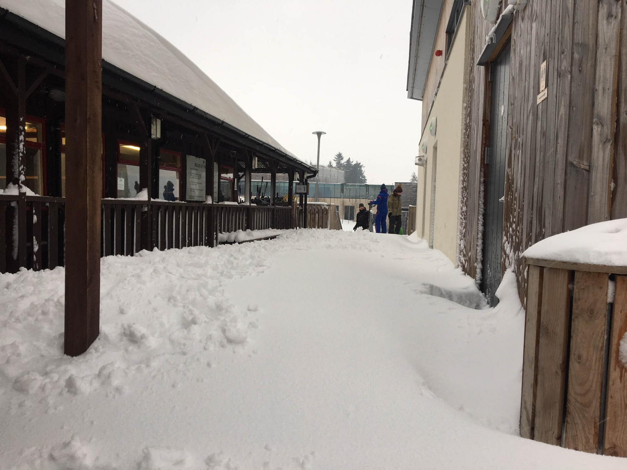 Lots of snow around the club house